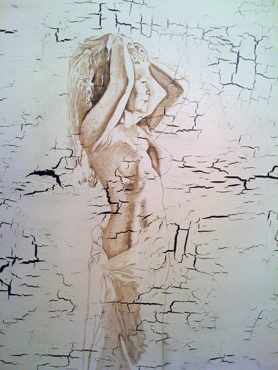 "Bather Study [2009] [acrylic and tar on canvas] [60""x36""] [107]"